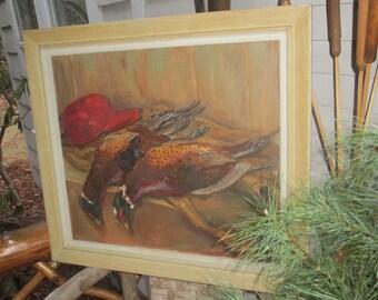 Vintage Oil Painting Canvas Gertrude Schmitt Shaefer Pheasants Hunting Cabin Lodge Bucks County PA Pennsylvania