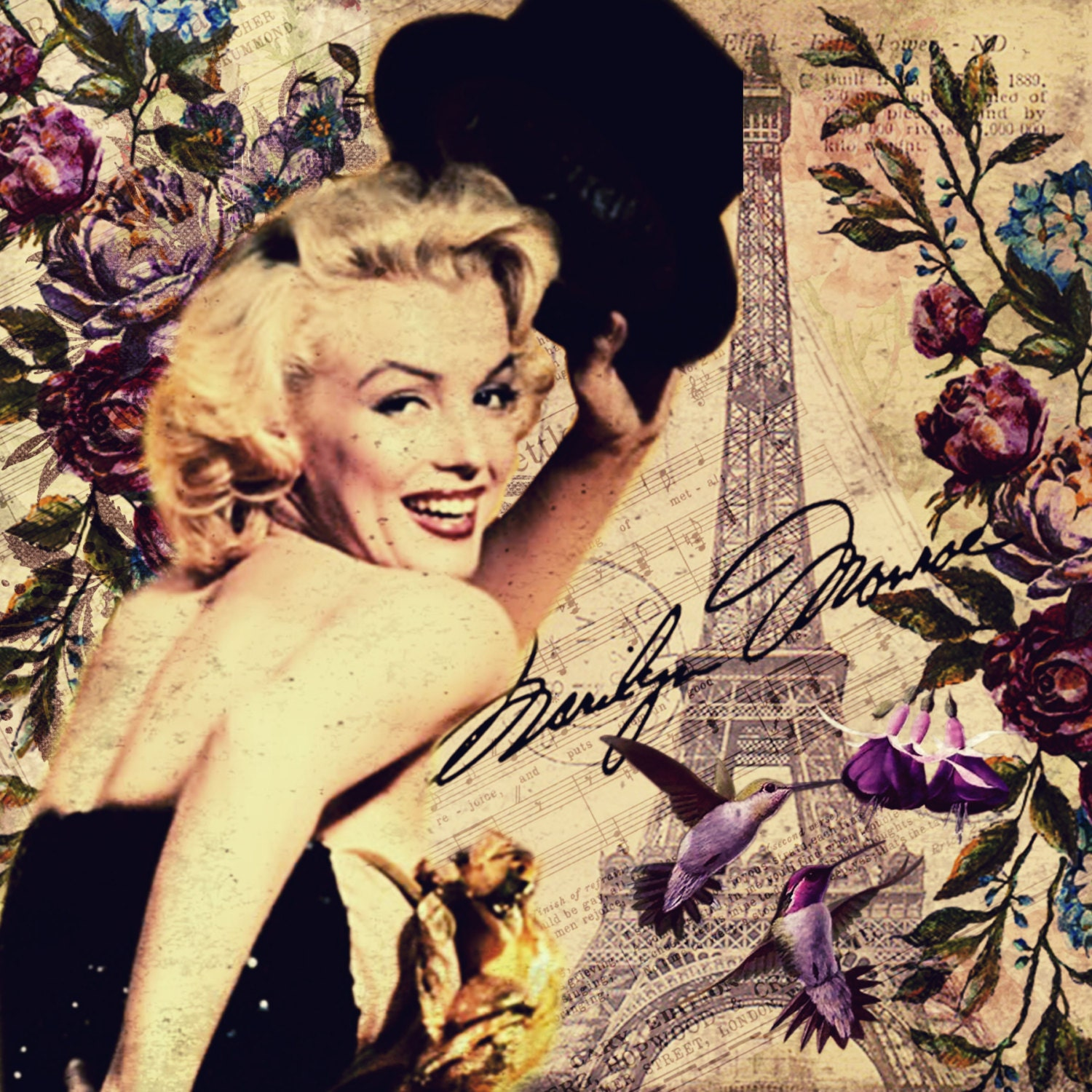 Hats Off to Paris - Marilyn Monroe Fabric Block - Great for Quilting ...