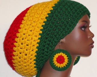 Rasta Colors Chunky Large Crochet Tam Cap Hat with Drawstring and Earrings Dreadlocks by Razonda Lee Razondalee Ready to Ship