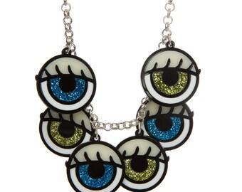 Dolls Eye charm necklace - laser cut acrylic