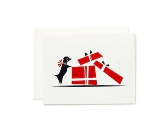 Dog Card / Dog Lovers Birthday Card / Dachshund Card / Dog Card / Hand Pulled Print / Retro Christmas Card / Christmas Puppy