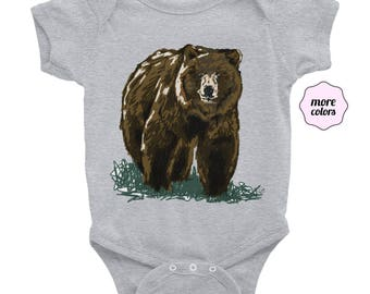 Grizzly Short-Sleeve Onesie | Bear Onesie | Bear Short Sleeve Onesie | Grizzly Onesie | Outdoorsy Onesie | Grizzly Bear Onesie | Baby Outfit