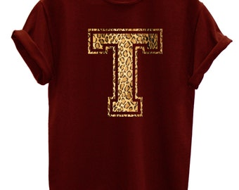 T Leopard Print Letter Fashion Tshirt Hipster Mens Womens Swag Brand New T Shirt