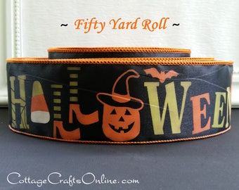 """Halloween Wired Ribbon, 2 1/2"""", Green, Orange Halloween Script, Black Satin - FIFTY YARD ROLL - Offray """"Witches Legs"""" Wire Edged Ribbon"""