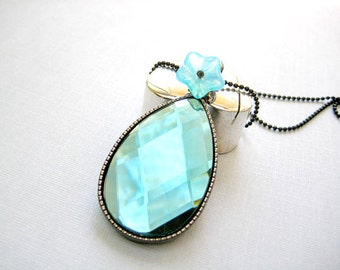 Blue Metal  Faceted Teardrop-Clear Pendant Necklace, Turquoise Oval Necklace,Mother's Day Necklace