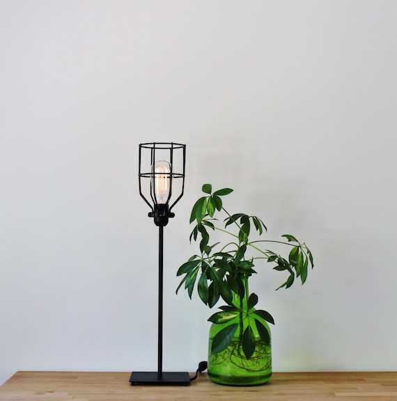 Basic black wire cage table lamp vintage style rustic greentooth Choice Image