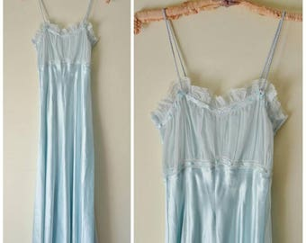vintage pale blue satin and sheer chiffon night gown M