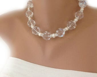 Swarovski Crystal and Swarovski Crystal Rondelles Choker  with Freshwater Pearls