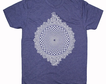 Men's MIRROR MIRROR Mandala Shirt Psychedelic Visions Screen Printed T-Shirt Sacred Geometry Clothing