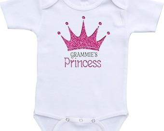 Princess onesie, crown princess,grammie's princess,onesies with crown,baby girl onesie,onesies princess,glamorous baby