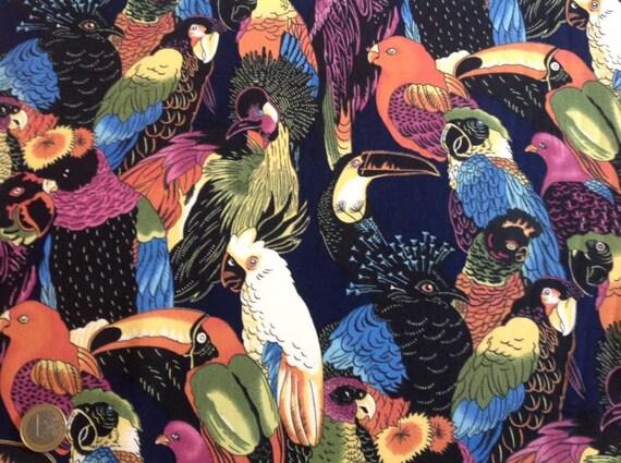 High quality cotton poplin, exotic birds print in navy