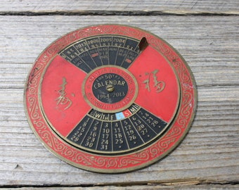 Vintage brass perpetual calendar for 1964-2013, beautiful 50-year calendar. Calendar, collectible, China, Chinese, vintage calendar
