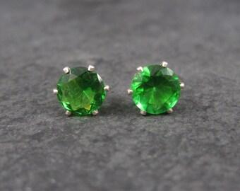 May Birthstone Emerald Sterling Stud Earrings 10mm
