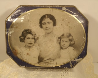 1930's Mother's Tin Box Blue Bird Toffee Candy Mother And Daughter Child Photo Love Metal Tinware Canister Royal Family Queen Elizabeth