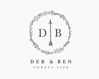 Premade Logo, Monogram Logo, Premade Logo Arrow, Premade Logo Boho, Bohemian Logo, Letter Logo, Wedding Logo, Wedding Monogram, Floral Logo