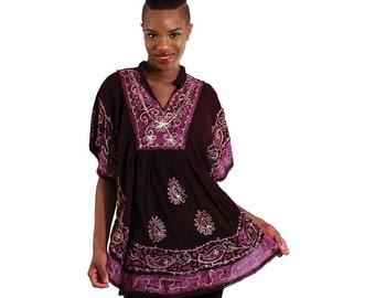 Batik Flower Poncho-Dashiki - Black/Purple