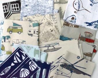 Novelty Fabric Scraps Bundle - Air Traffic Map, Vintage Airplane, Camper, Caicos, Oars,  Llama love, Home Decor Premier Prints REMNANT CUTS