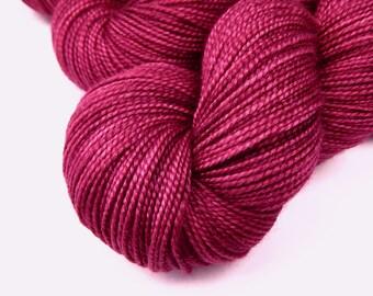 Hand Dyed Yarn - Sock Weight Superwash Merino Wool Silk Yarn - Plumberry - Semi Solid Indie Dyed Knitting Yarn, Tonal Fingering Sock Yarn