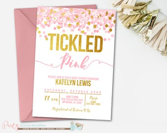 Tickled Pink Baby Shower Invitation, Confetti Baby Shower Invitation, Girl Baby Shower Invitation, It's a Girl, Tickled Pink Invitation