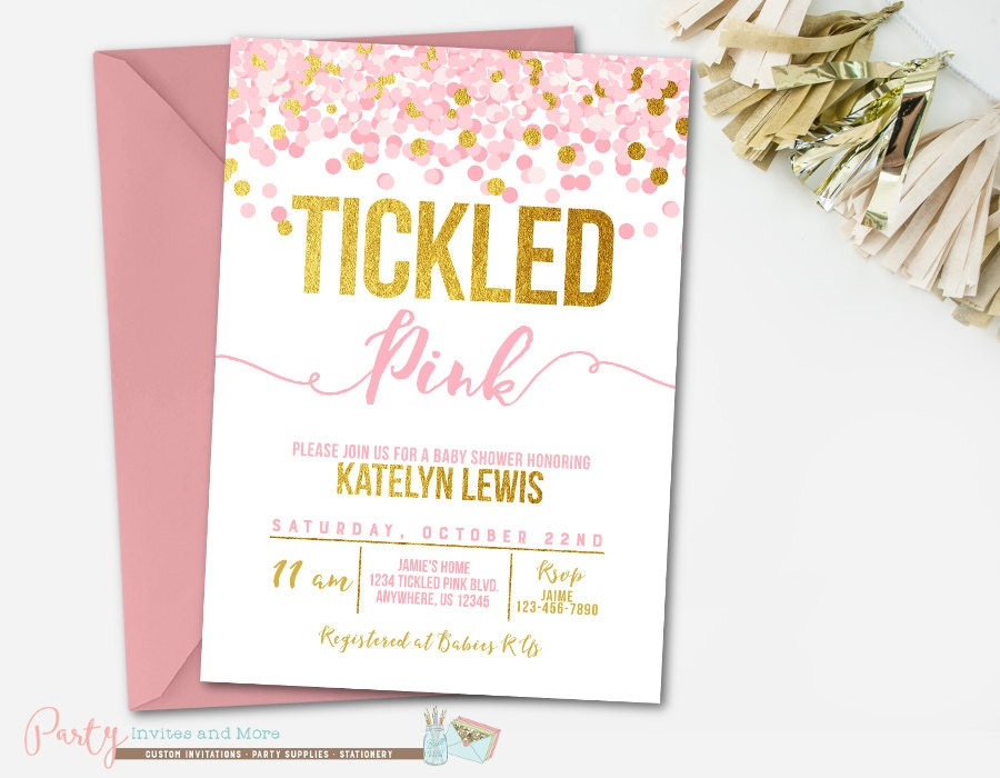 Tickled Pink Baby Shower Invitation Confetti Baby Shower