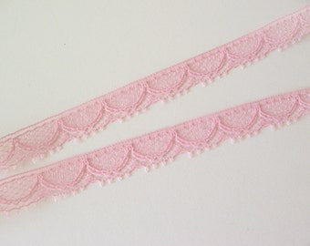 """9 yards pink lace trim 5/16"""" wide"""