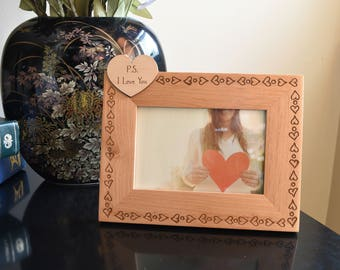 PS I Love You Photo Frame. I Love You Wood Frame Wedding Day Gift.