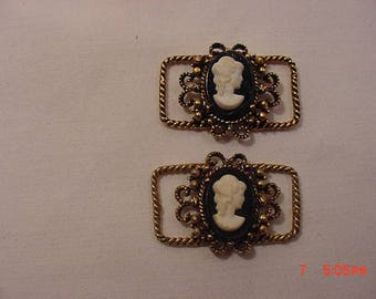 2 Vintage Matching Cameo Buckles  18 - 50