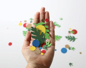 Chunky Confetti - Florals and Greenery - Coral + Mint - Primary Colors - Leaves and Flowers - Polka Dot Confetti