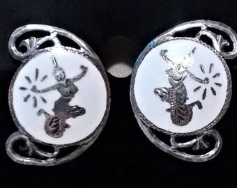 OJE-115 Vintage, Sterling, Enameled, Made in Siam Earrings