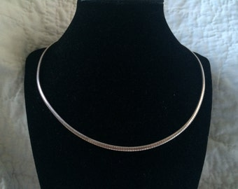 Vintage 925 Sterling Silver Omega Italy Necklace, 18'' Long