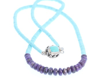 "Genuine SLEEPING BEAUTY TURQUOISE Necklace with Sugilite 22"" NewWorldGems"