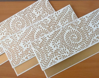 Money Envelopes  -  Set of 5 Gold and White / Money Holders / Wedding envelope / Cash envelopes