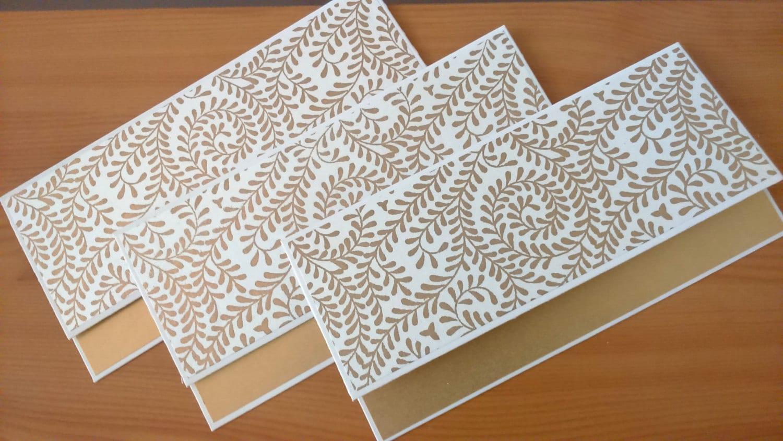 Money Envelopes Set of 5 Gold and White / Money Holders /