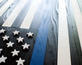 Thin Blue Line Wood Flag, Thin Blue Line Flag, US Flag, Police Flag, Wooden Flag, Wall Art, Stars and Stripes, Old Glory, Police, Blue line