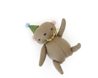 birthday bear | handmade jointed bear in a party hat
