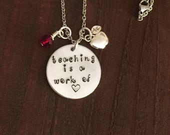 Teaching Is A Work Of Heart Necklace- Teacher Jewelry- Gifts For Teachers- Apple Jewelry- Teacher Necklace-