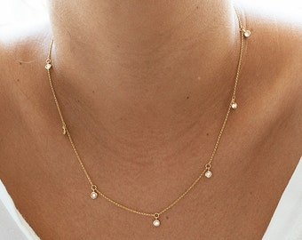 Gold Necklace, Gold Choker Necklace, Gold Necklace Dainty, Gold Diamond Necklace, Gold Dangle Choker