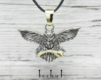 Owl pendant, silver owl pendant, silver owl necklace. Silver owl pendants, silver pendant with owl from Kochut collection.