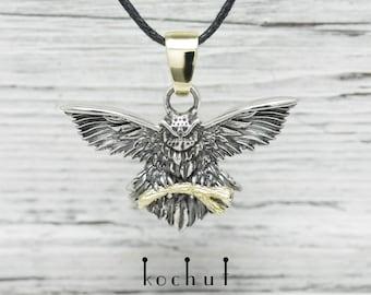 Owl pendant, silver owl pendant, silver owl necklace. Silver owl pendants, silver pendant with owl from Kochut collection.