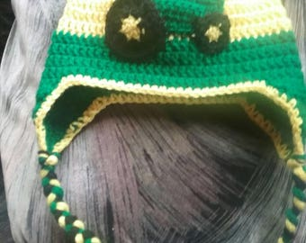John Deere inspired child's hat with earflaps