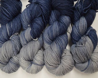 Aubs Worsted, hand dyed yarn, handdyed yarn, hand dyed worsted yarn, hand painted yarn, worsted yarn, worsted weight, Deep Waters