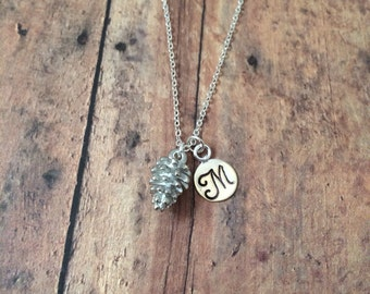 Pine cone initial necklace - pine cone jewelry, woodland jewelry, bridesmaid necklaces, nature jewelry, silver pine cone necklace