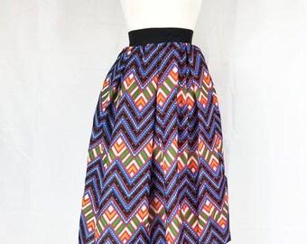 Ankara silk tea-length skirt with invisible pockets (Blue - Multi-color)