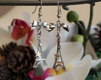 """Jewelry Silver earrings """"tour Eiffel"""" starry with bows"""