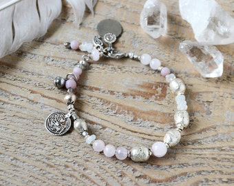 Rose quartz and silver Hanuman amulet bracelet,  yoga jewelry, gemstone jewelry, gift for her, bohemian ethnic jewelry