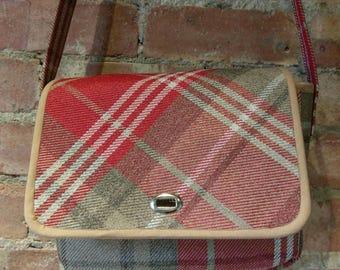 Cross body bag - Ladies - Handbag - Handmade - Red Tweed -  Fashion