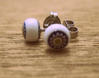 Millefiori glass stud earrings tiny minimalist fused glass - suns