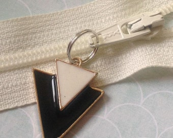 Quirky Arrow shaped enamel  upcycled Zip Pull