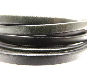 Leather Strip 5 mm khaki dark, sold by 20 cm