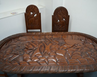 Dining Table Africa African Art Chairs Dinner Lunch Breakfast Wood Solid Wood Carved Handmade Home Decor